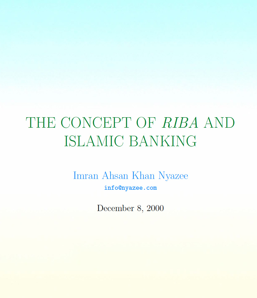 Concept of Riba & Islamic Banking
